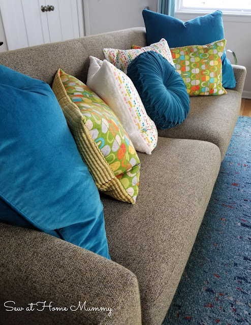 Mid century inspired IKEA hack - funky quilted couch cushions by Sew at Home Mummy