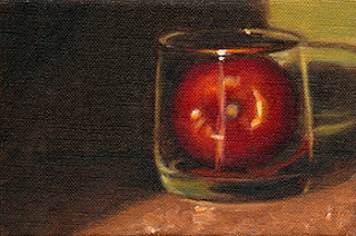 Oil painting of a tomato in an Old Fashioned glass.