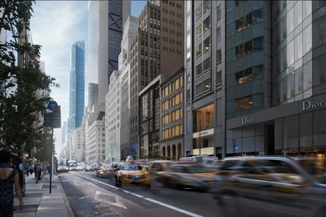 Rendering of One 57 by Christian de Portzamparc from the street with the trafic
