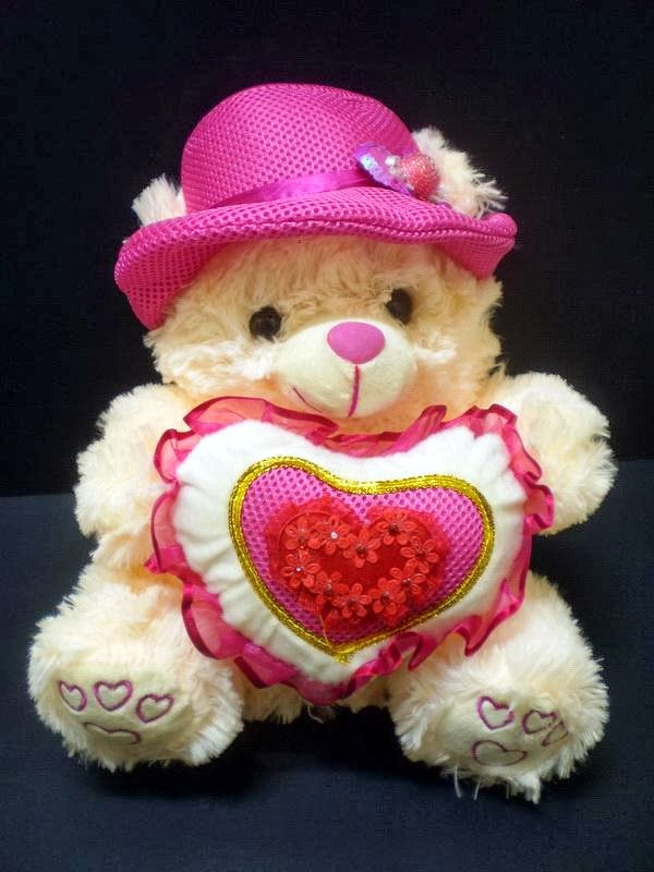 Cute White Teddies With Hearts Pink Teddy Bear