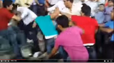 A fight broke out among spectators during a match between Kings XI Punjab and Delhi Daredevils and was caught on camera.   It was an uneven fight in more ways than one. A group of four people took on a team of two of which one was on the attack and the other was blocking in defence.  The smaller team was on a higher layer of the stadium and used their height advantage to the hilt.