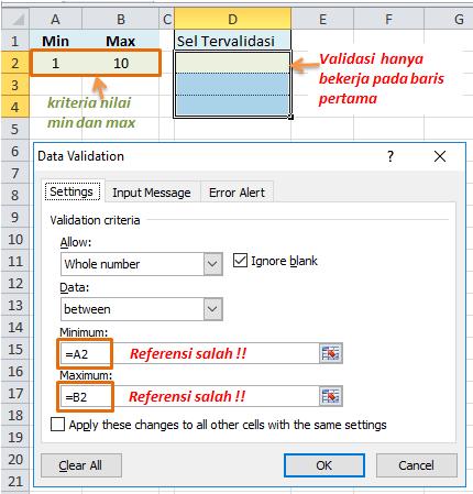 Formula data validation referensi tidak tepat