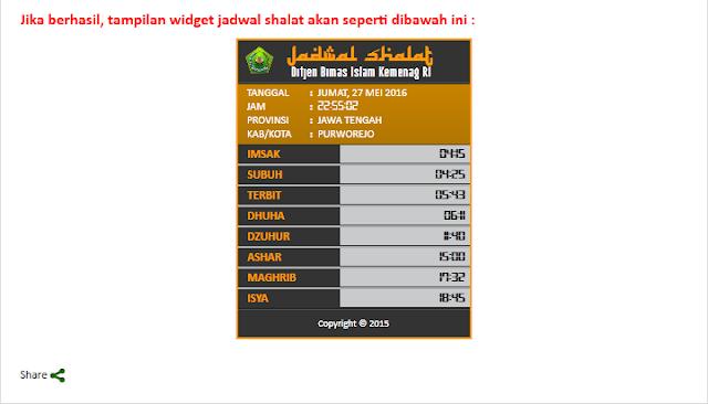 cara menambahkan widget jadwal imsakiyah di blog