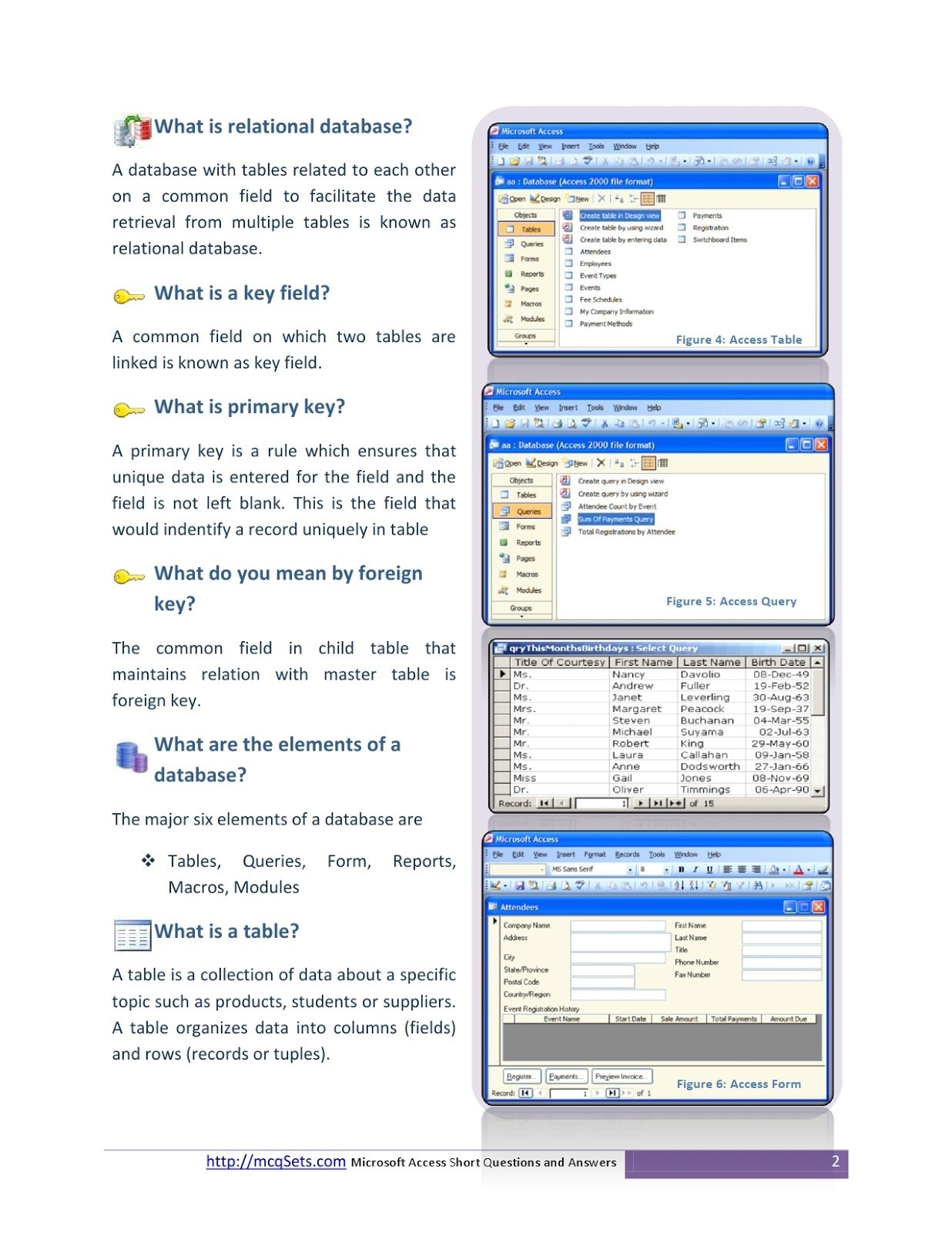MS-Access-Short-Questions-Answers Pdf Download ~ Next