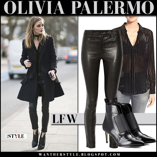 Olivia Palermo in black dior coat, black leather j brand pants and black ankle booties jimmy choo mazzy london fashion week outfit 2017 what she wore