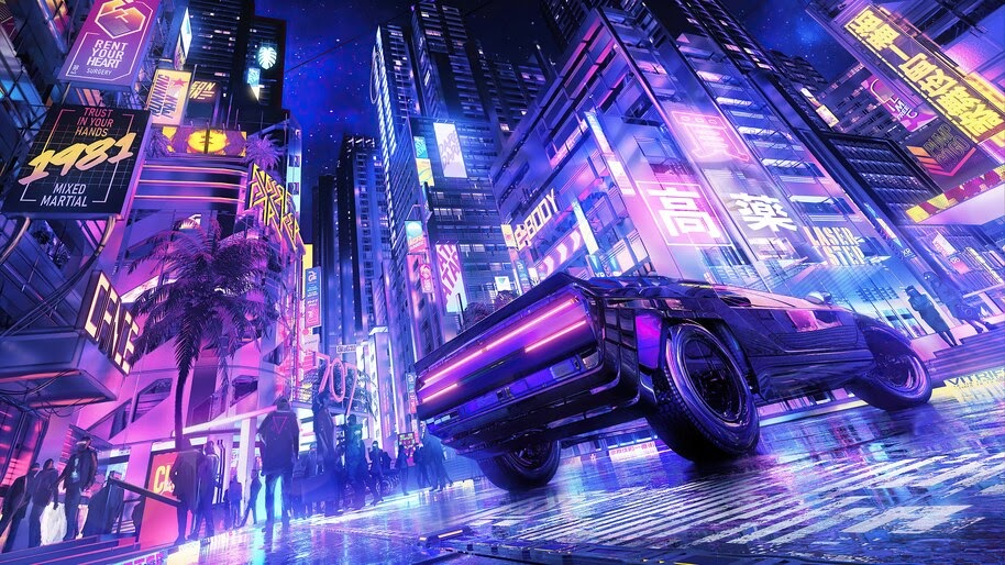 Cyberpunk, Car, Night, City, 4K, #6.2168