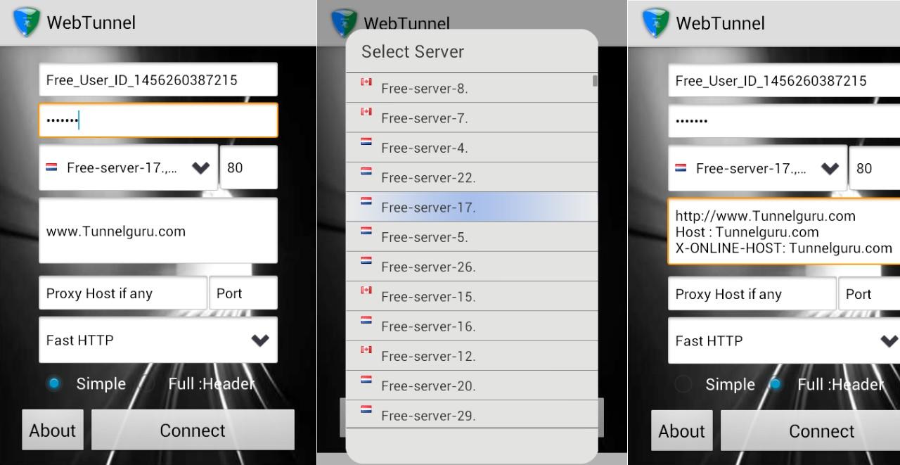 VPN Over HTTP Tunnel WebTunnel - Screenshots