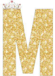 Abecedario de Corona con Fondo Dorado. Alphabet of Crown with Golden Background.