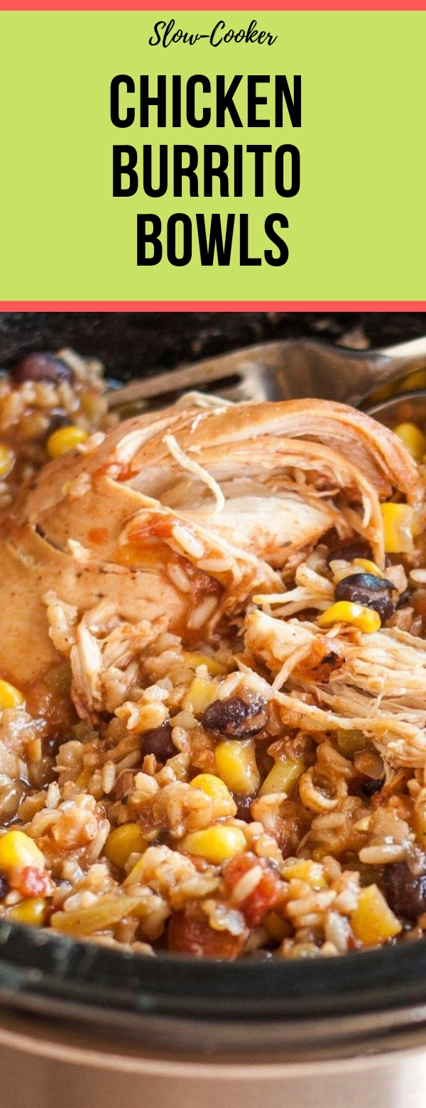Slow-Cooker Chicken Burrito Bowls #SLOWCOOKER #CHICKEN #CROCKPOT
