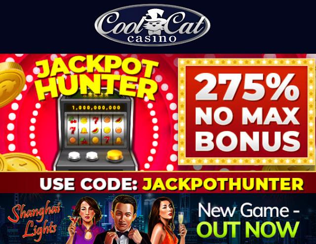 Jackpot Hunter 275% slots bonus from Cool Cat casino