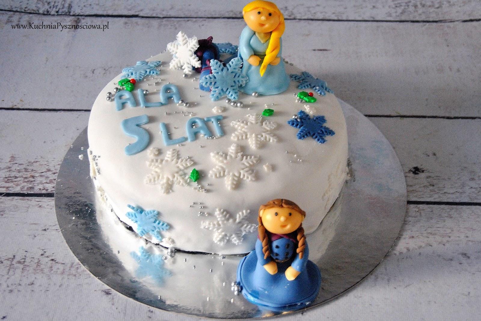 Tort urodzinowy z księżniczką Elzą i Anną z Krainy Lodu
