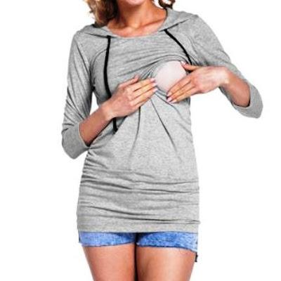 Long-Sleeve Hooded Maternity Nursing top