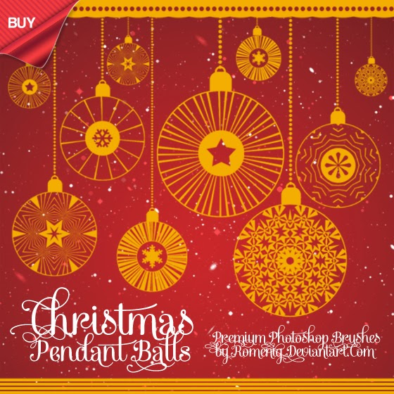 f7028613c2d Efeito Photoshop  Vintage Christmas Balls Premium Brushes