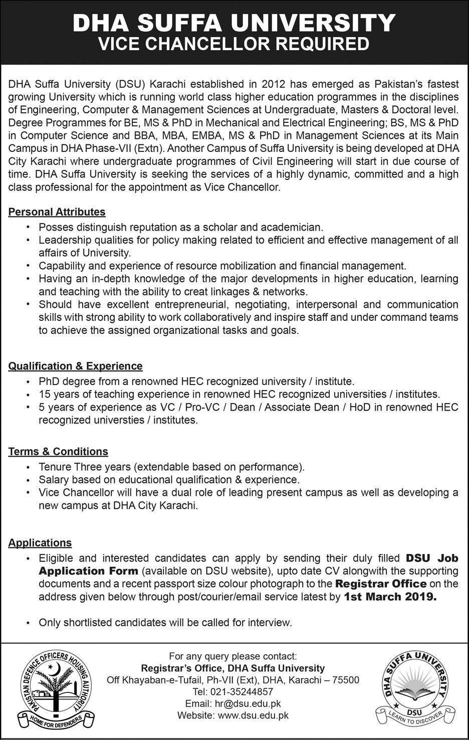 Vice Chancellor Required at DHA Sufa University