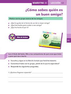 Apoyo Primaria Español 1er grado Bimestre III lección 18 ¿Cómo sabes quién es un buen amigo?