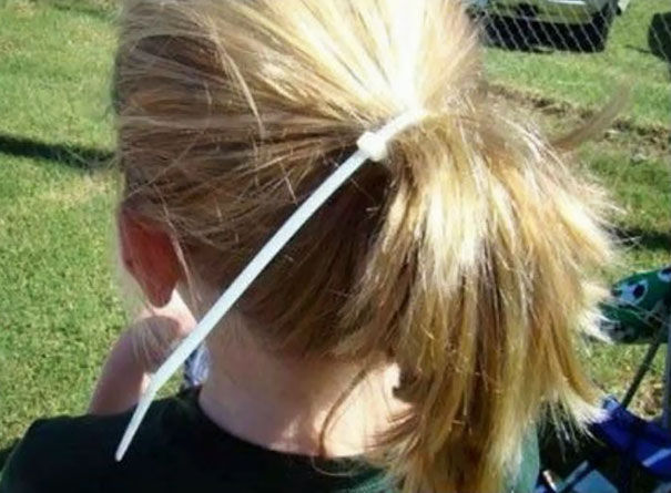 dad hacks. Zip tie ponytail. Necessity? marchmatron.com