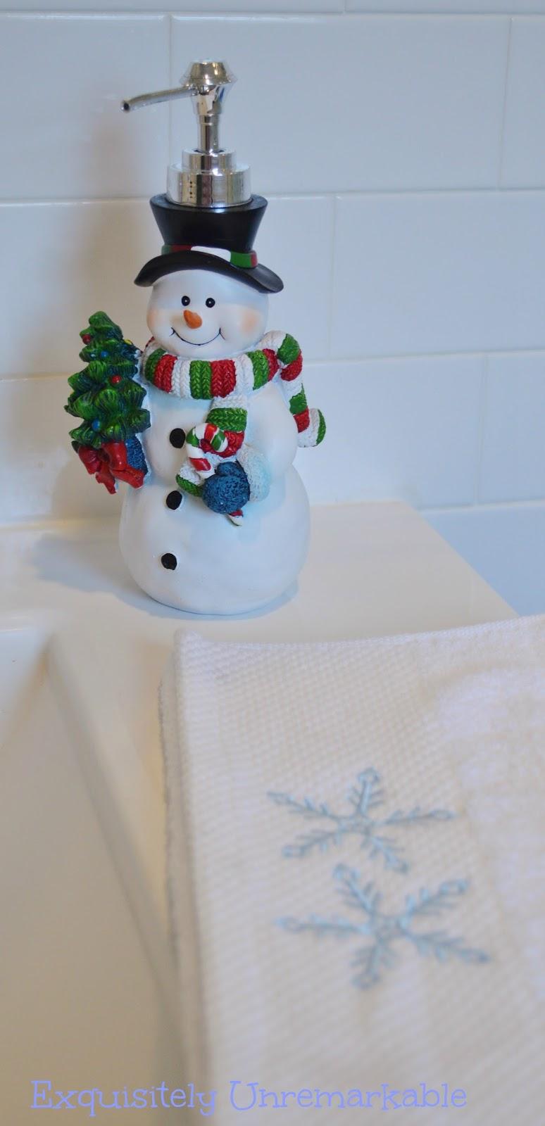 snowman soap pump