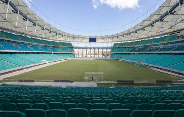 Arena Fonte Nova, cores das cadeiras lembram águas do Dique do Tororó