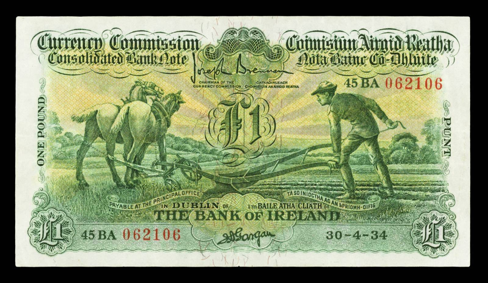 Ireland Currency Commission, Consolidated banknotes One Pound Ploughman Note