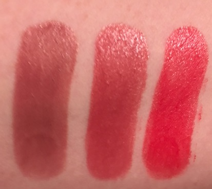 7e1f7329d25 above: swatches of Maybelline Color Sensational Shine Compulsion Lipstick  in Taupe Seduction, Spicy Mauve and Scarlet Flame