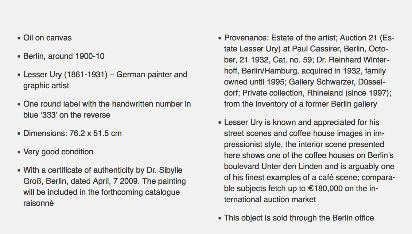Auctionata Expert failed to state Lesser Fry sold at 1995 & 2009 auctions Auctionata Expert incorrectly claims painting in Private Collection since 1997