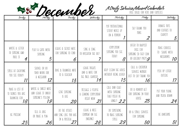 daily random acts service advent calendar and printable. Black Bedroom Furniture Sets. Home Design Ideas