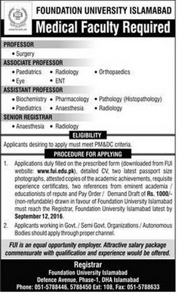 Doctors jobs in foundation University Jobs