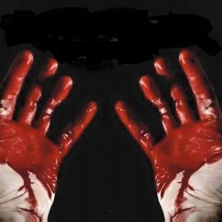 a christian hand stained with blood