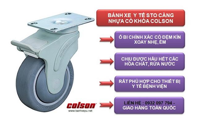 Bánh xe cao su càng xoay có khóa chịu tải 100kg | STO-5856-448BRK4 www.banhxepu.net
