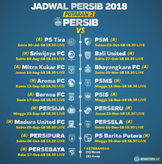 Jadwal Persib Bandung Putaran Kedua Liga 1 2018