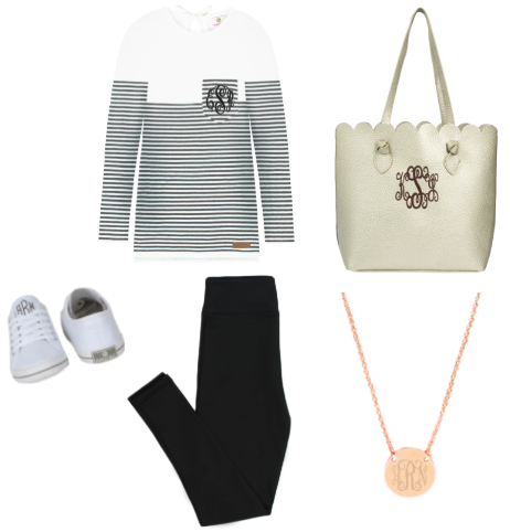 striped sweater with leggings and sneakers