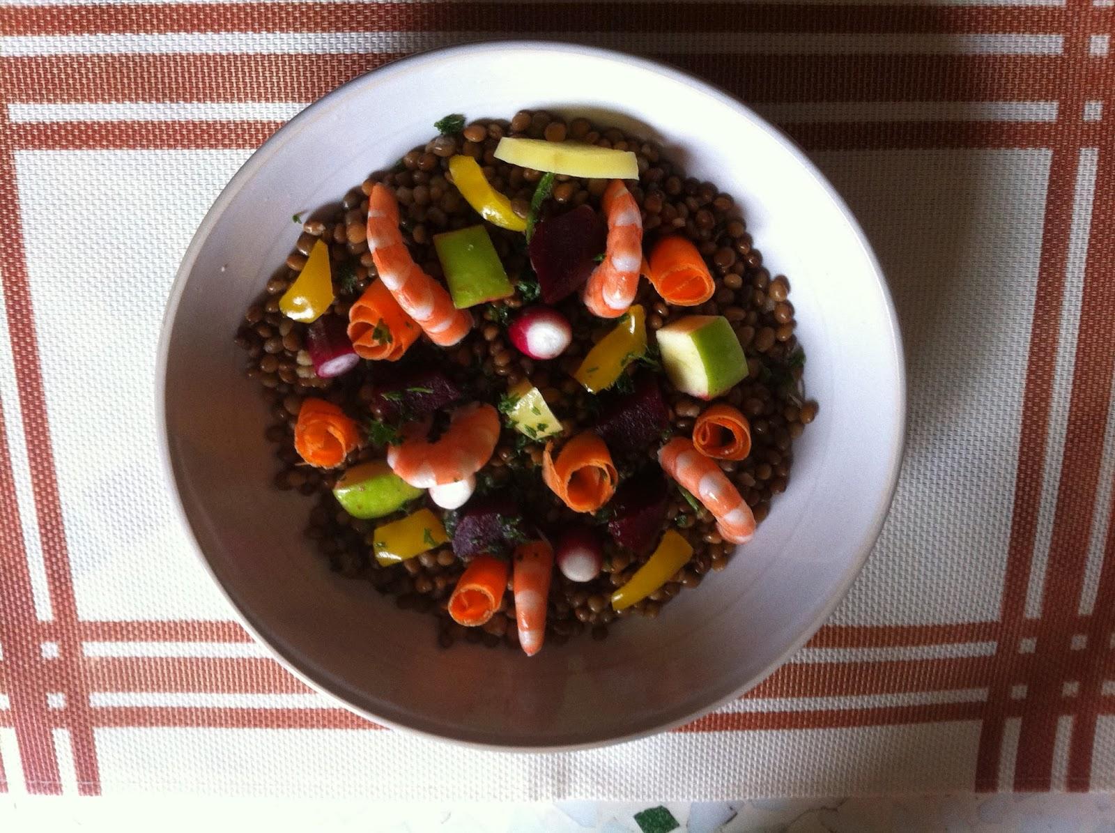 salade lentilles crevettes légumes