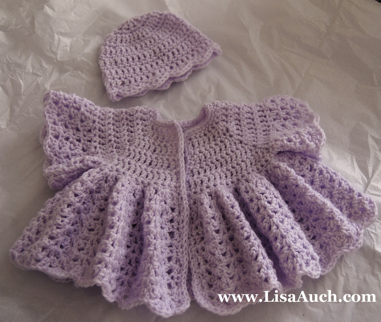 Free Crochet Pattern Beautiful Vintage Swing Baby Cardigan (0-3 ...