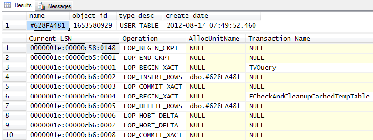 Transaction log for a cached table variable