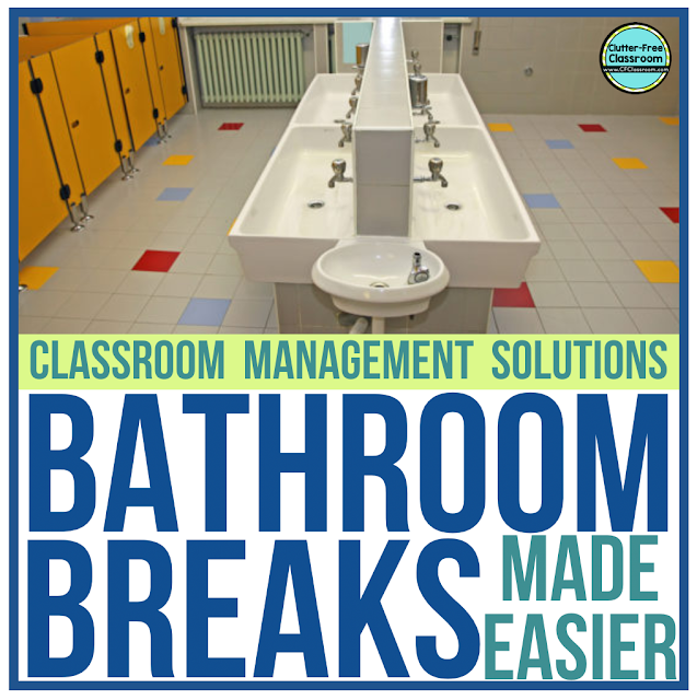 Check out these simple elementary bathroom breaks printable tracker and hall pass from the Clutter Free Classroom! Teaching kids how to track when they make bathroom trips will make classroom management for bathroom use easy for you.