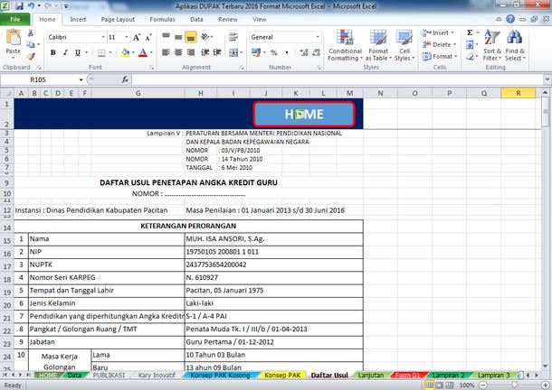 Aplikasi DUPAK Format Microsoft Excel Terbaru 2016
