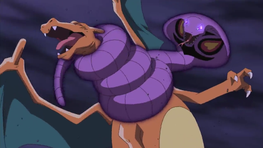 Pokémon the Movie I Choose You Arbok Wrap strangling Charizard