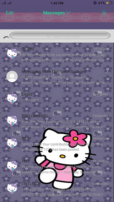 Oppo Theme: Oppo Hello Kitty Violet Theme