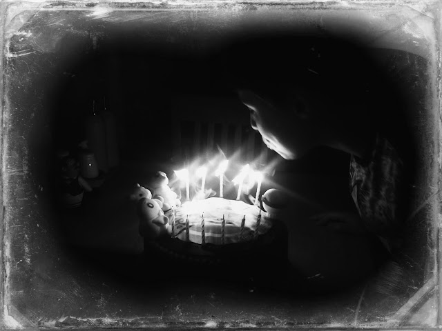 Blowing Out Candles, Black and White Image