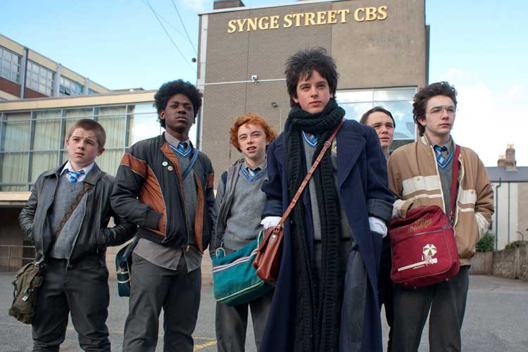 The band members from the film Sing Street, directed by John Carney.