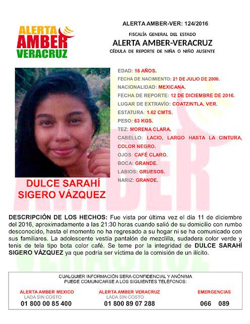 Activan Alerta Amber para Dulce Sarahi Sigero en Coatzintla Veracruz