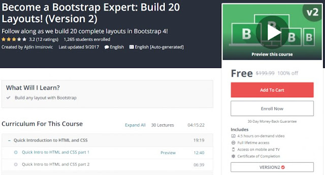 [100% Off] Become a Bootstrap Expert: Build 20 Layouts! (Version 2)| Worth 199,99$