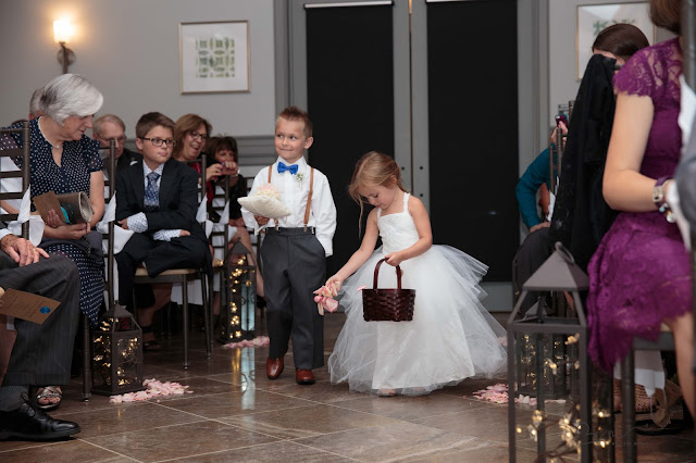ring bearer and flower girl at Noah's Event Venue in Auburn Hills Michigan