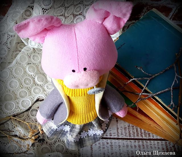 хрюшка, свинка, поросёнок, кукла, ручнаяработа, символгода, купить, заказать