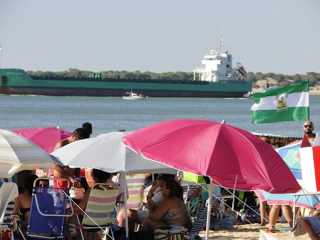 Vistas de la playa de la Calzada con gente en la playa, un buque y Doñana de fondo.