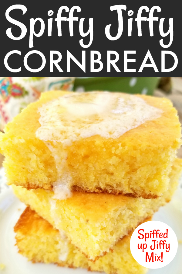 A spiffed up, semi-homemade recipe using Jiffy Cornbread mix, sour cream and real melted butter for a super moist and tender, absolutely perfect pan of cornbread.