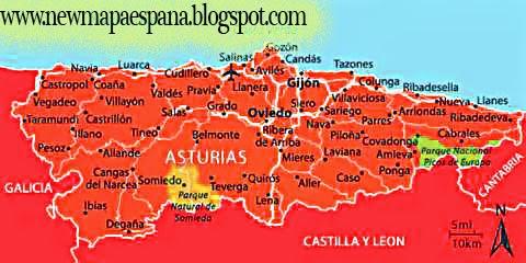 Mapa Politico De Asturias.Asturias Mapa Politico Region Mapa Espana Politico Region