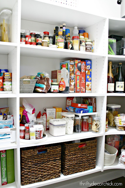 Using baskets and containers in the pantry