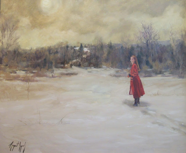 Red Coat Girl in Snow, oil painting
