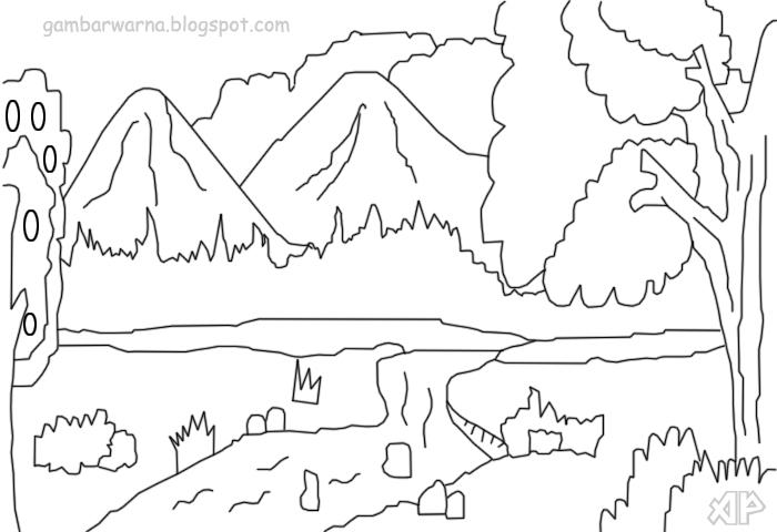 Mewarnai Pemandangan Alam Belajar Gambar Download